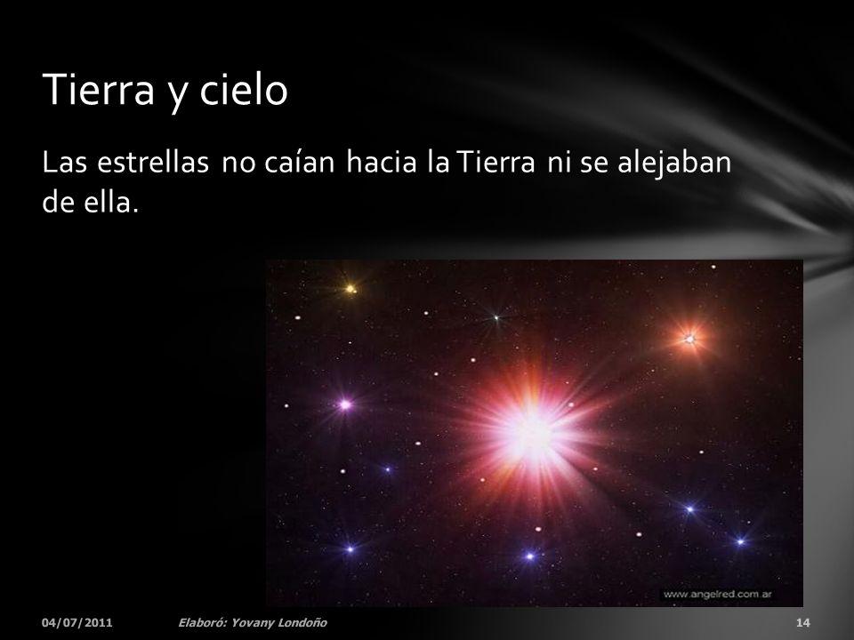 Tierra y cielo Las estrellas no caían hacia la Tierra ni se alejaban de ella.