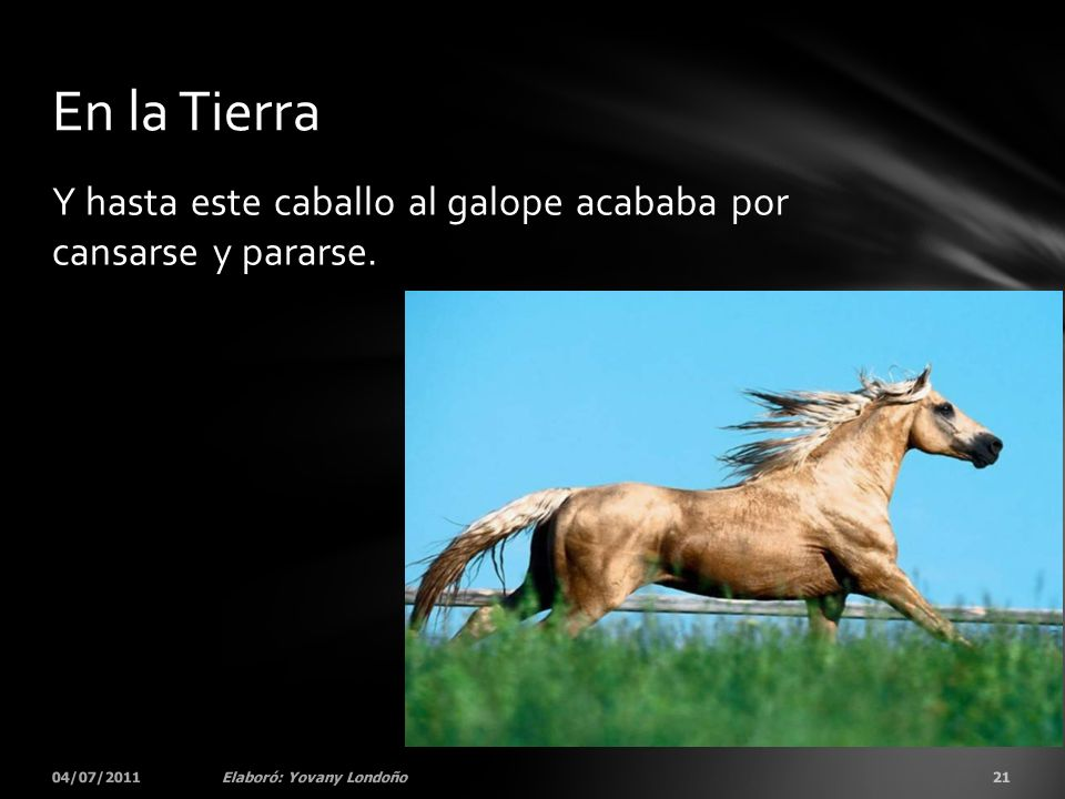 En la Tierra Y hasta este caballo al galope acababa por cansarse y pararse.