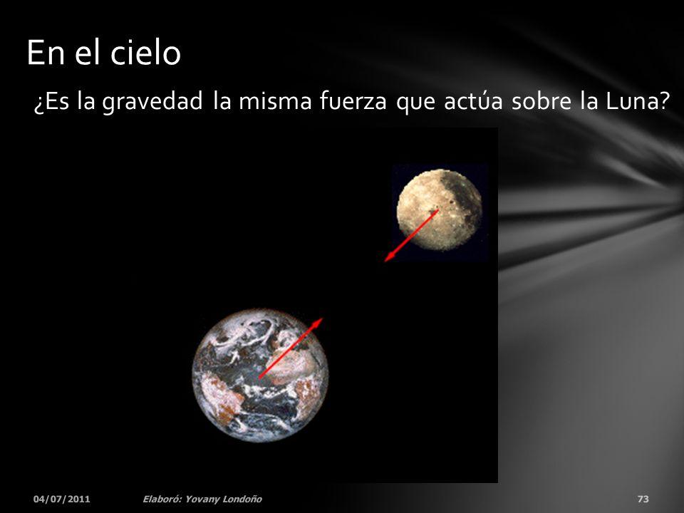 En el cielo ¿Es la gravedad la misma fuerza que actúa sobre la Luna