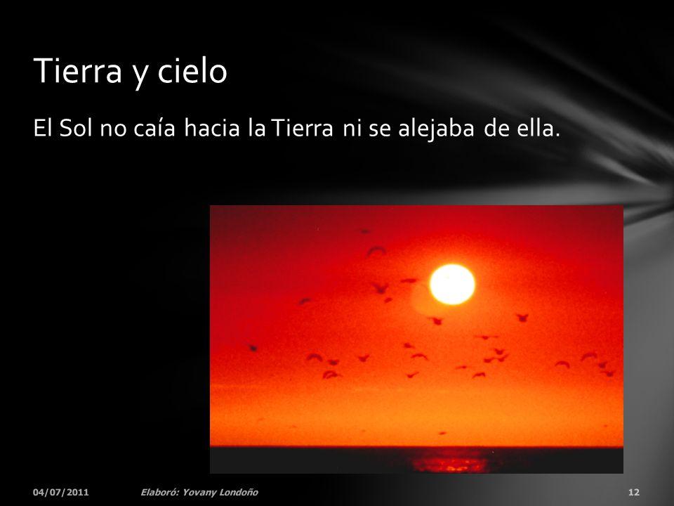 Tierra y cielo El Sol no caía hacia la Tierra ni se alejaba de ella.