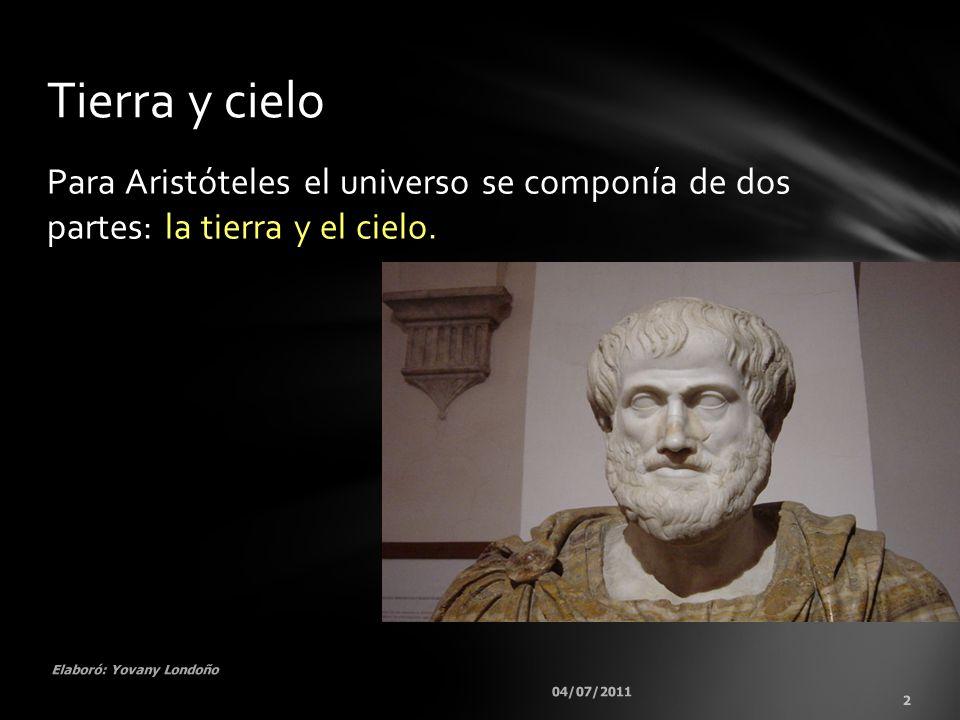 Tierra y cielo Para Aristóteles el universo se componía de dos partes: la tierra y el cielo. Elaboró: Yovany Londoño.