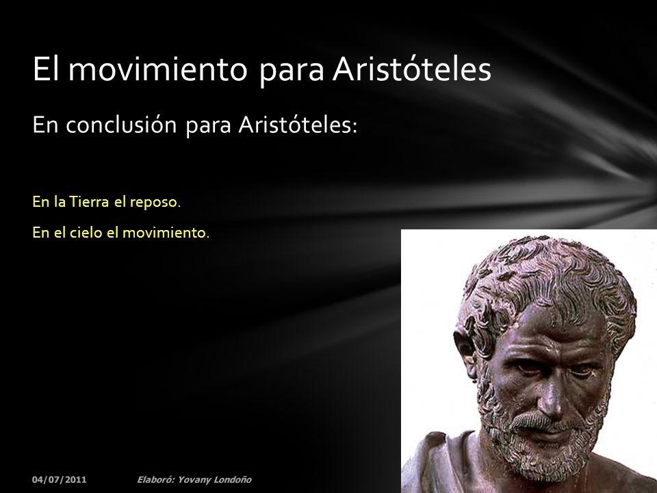El movimiento para Aristóteles