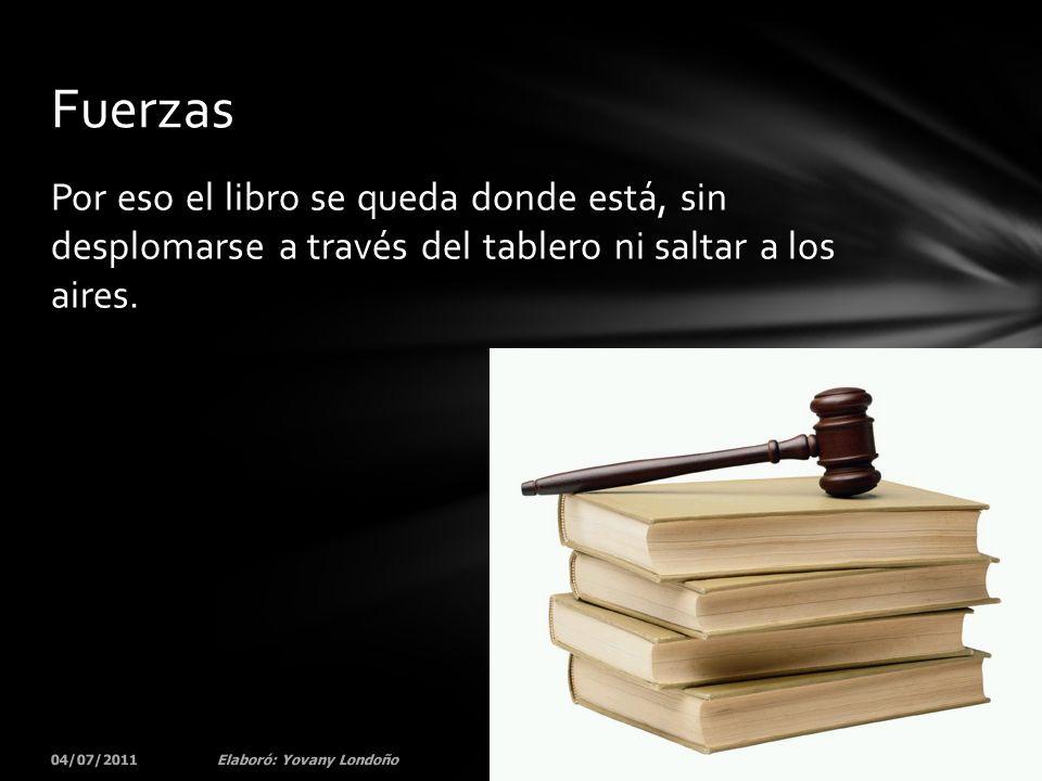 Fuerzas Por eso el libro se queda donde está, sin desplomarse a través del tablero ni saltar a los aires.