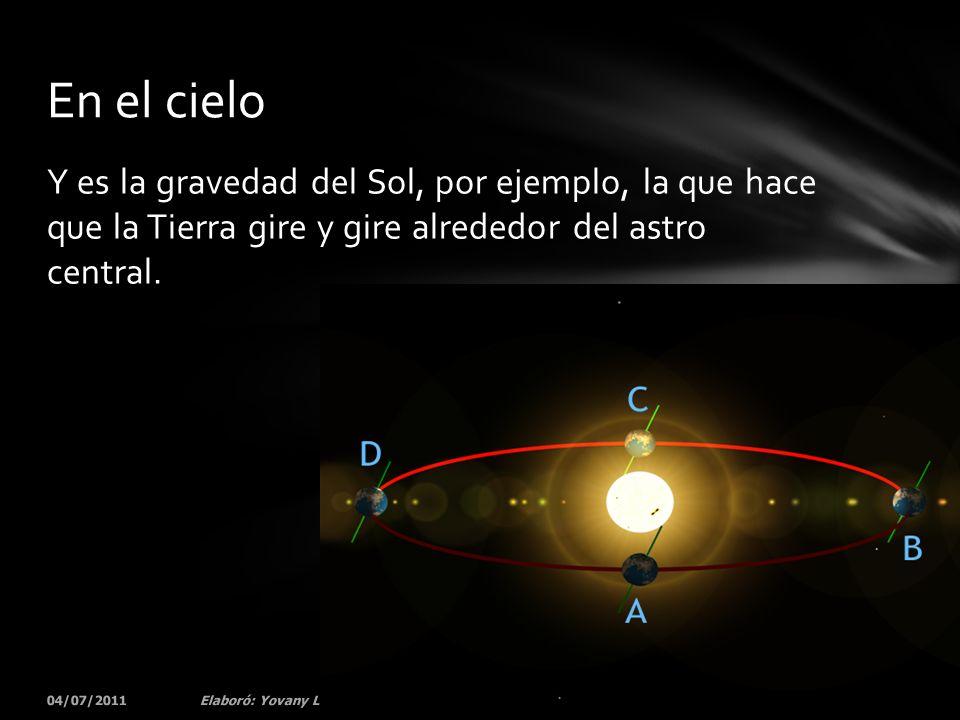 En el cielo Y es la gravedad del Sol, por ejemplo, la que hace que la Tierra gire y gire alrededor del astro central.