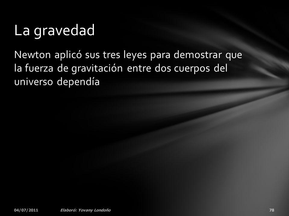 La gravedad Newton aplicó sus tres leyes para demostrar que la fuerza de gravitación entre dos cuerpos del universo dependía.