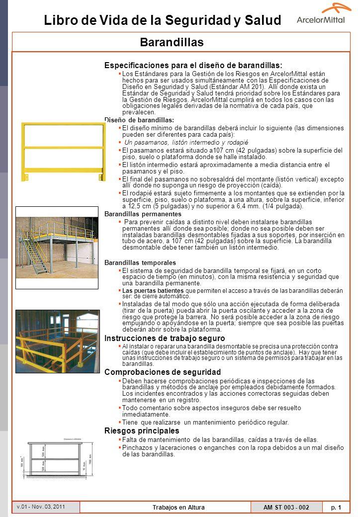Barandillas Especificaciones para el diseño de barandillas: