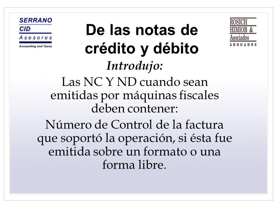 De las notas de crédito y débito