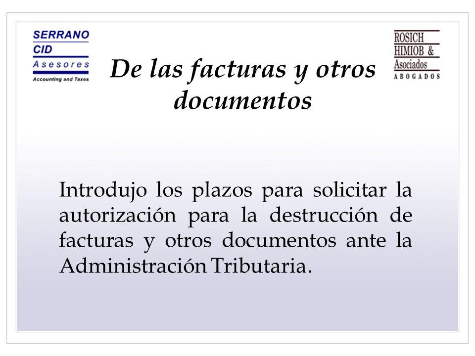 De las facturas y otros documentos