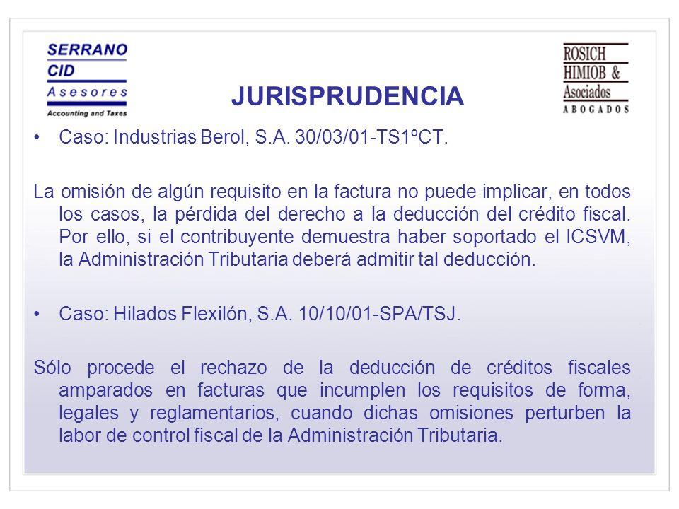 JURISPRUDENCIA Caso: Industrias Berol, S.A. 30/03/01-TS1ºCT.