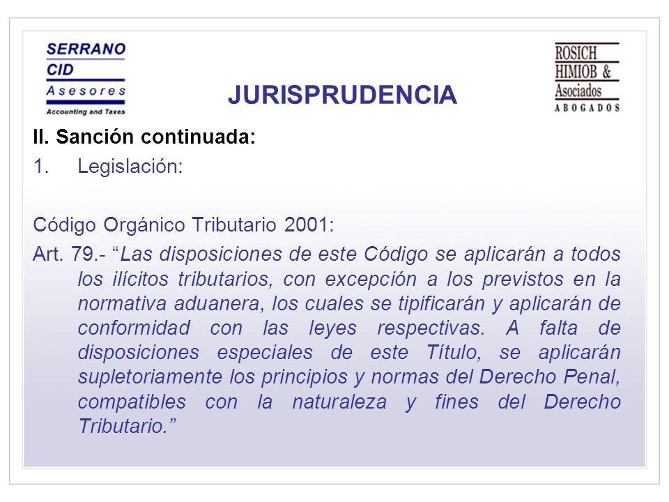 JURISPRUDENCIA II. Sanción continuada: Legislación: