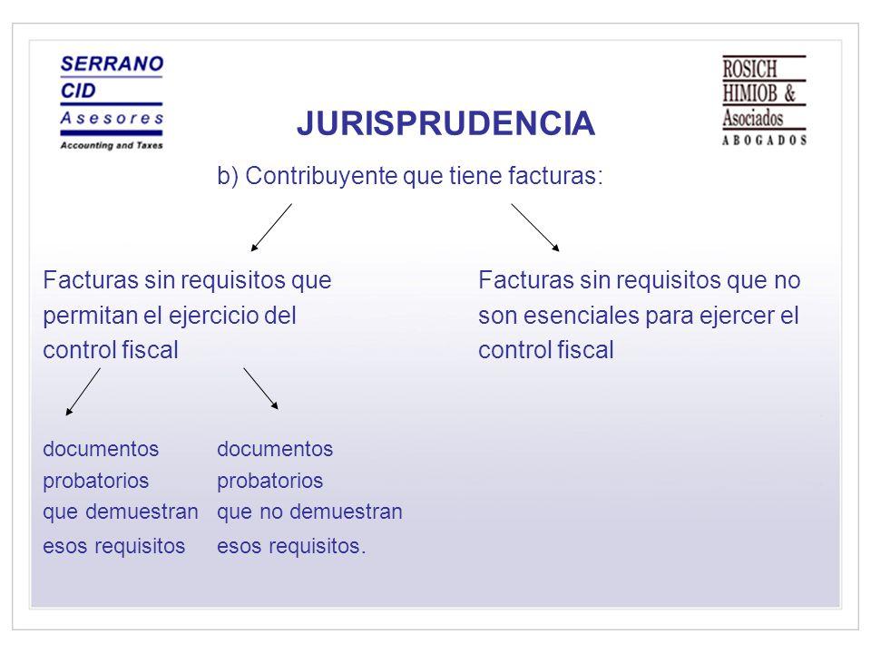 JURISPRUDENCIA b) Contribuyente que tiene facturas: