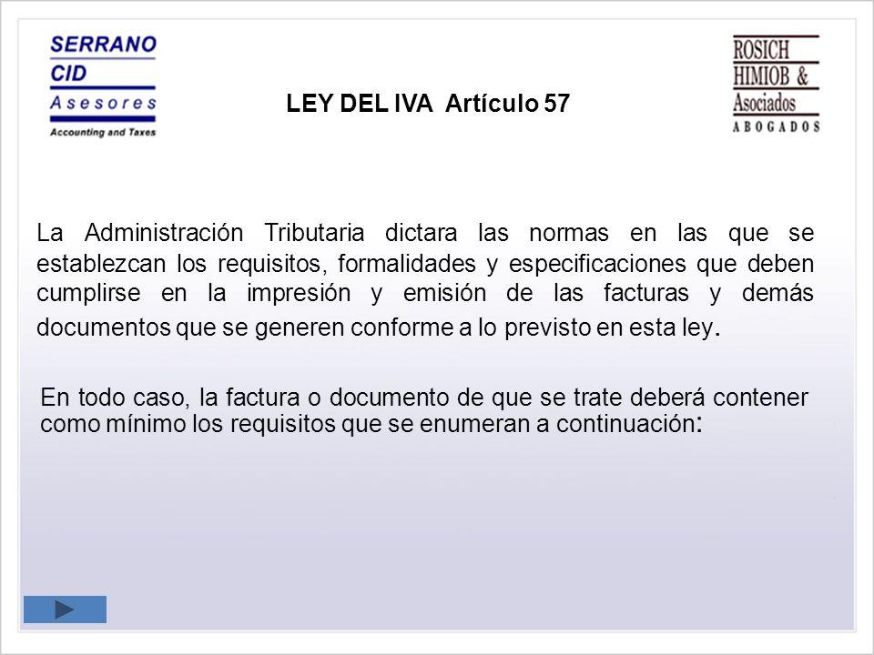 LEY DEL IVA Artículo 57