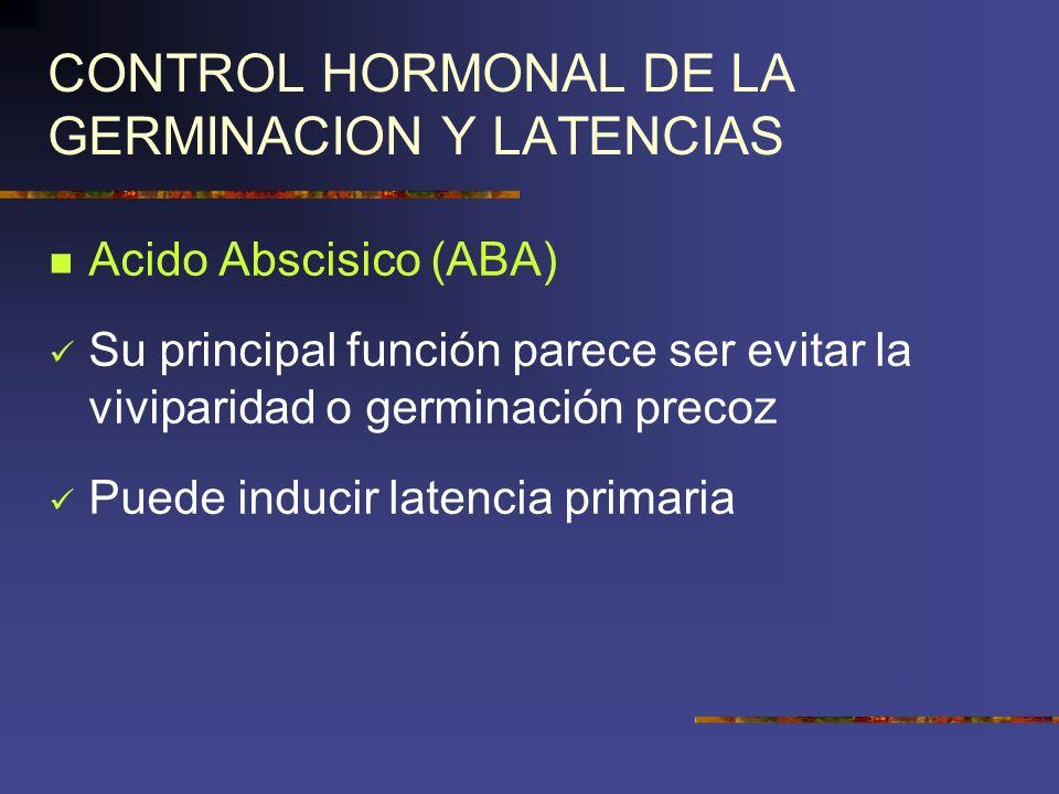 CONTROL HORMONAL DE LA GERMINACION Y LATENCIAS