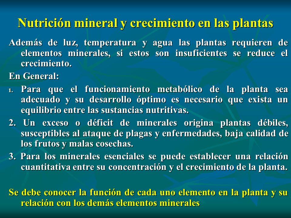 Nutrición mineral y crecimiento en las plantas