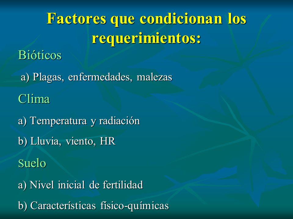 Factores que condicionan los requerimientos: