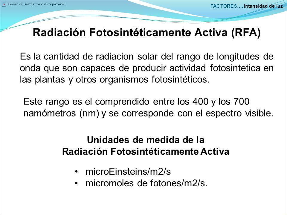 Radiación Fotosintéticamente Activa (RFA)
