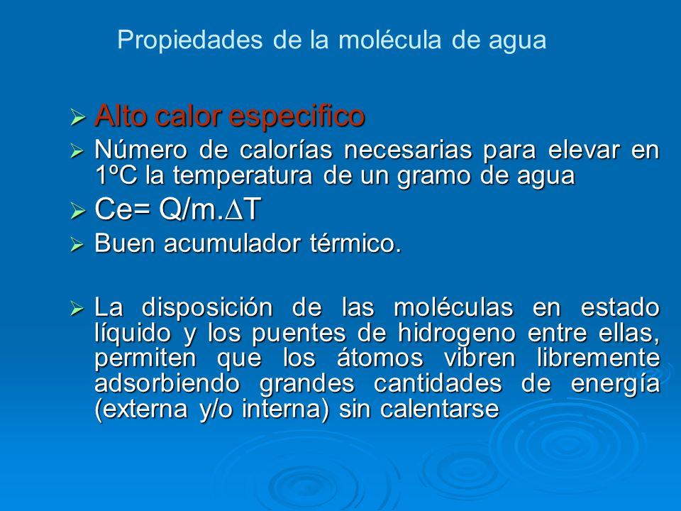 Alto calor especifico Ce= Q/m.∆T Propiedades de la molécula de agua