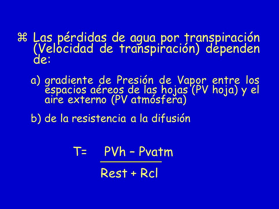 Las pérdidas de agua por transpiración (Velocidad de transpiración) dependen de: