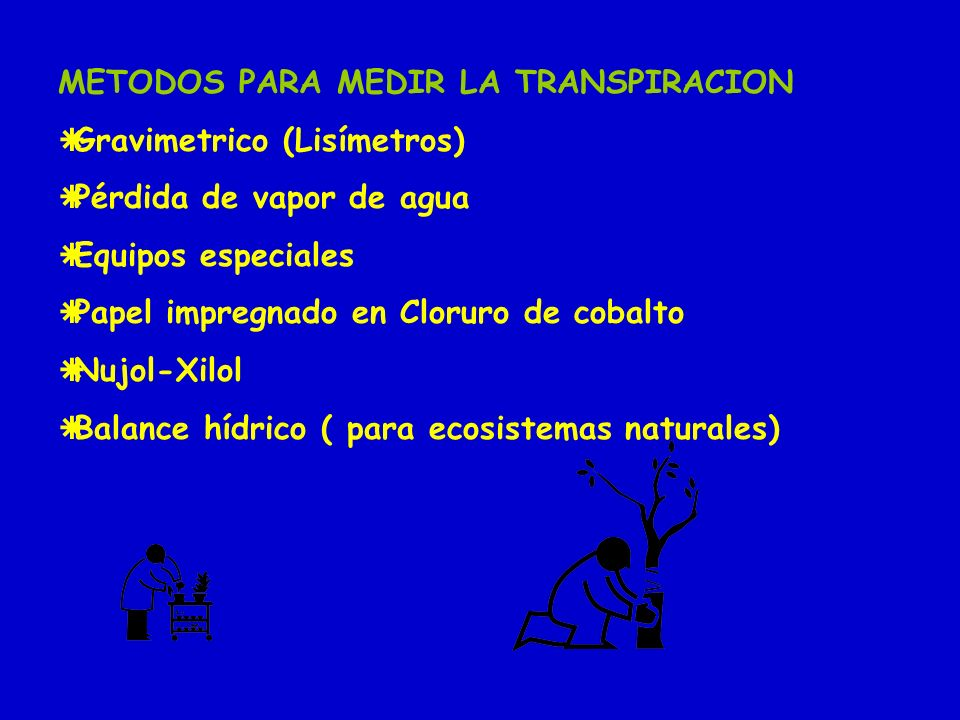 METODOS PARA MEDIR LA TRANSPIRACION