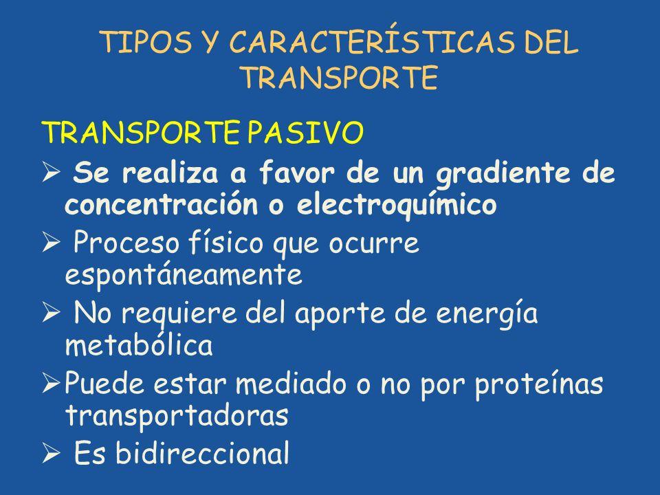 TIPOS Y CARACTERÍSTICAS DEL TRANSPORTE