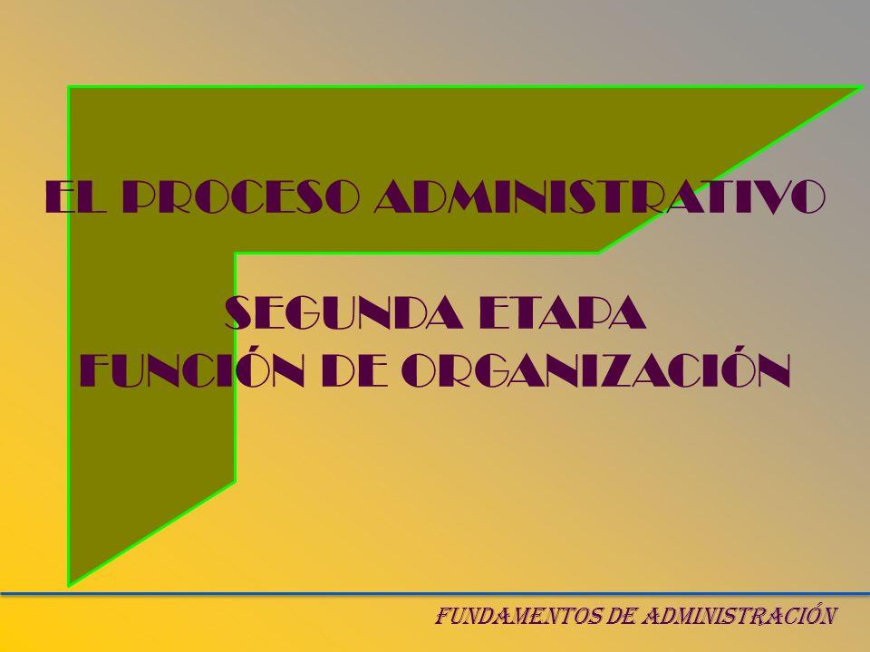 EL PROCESO ADMINISTRATIVO SEGUNDA ETAPA FUNCIÓN DE ORGANIZACIÓN