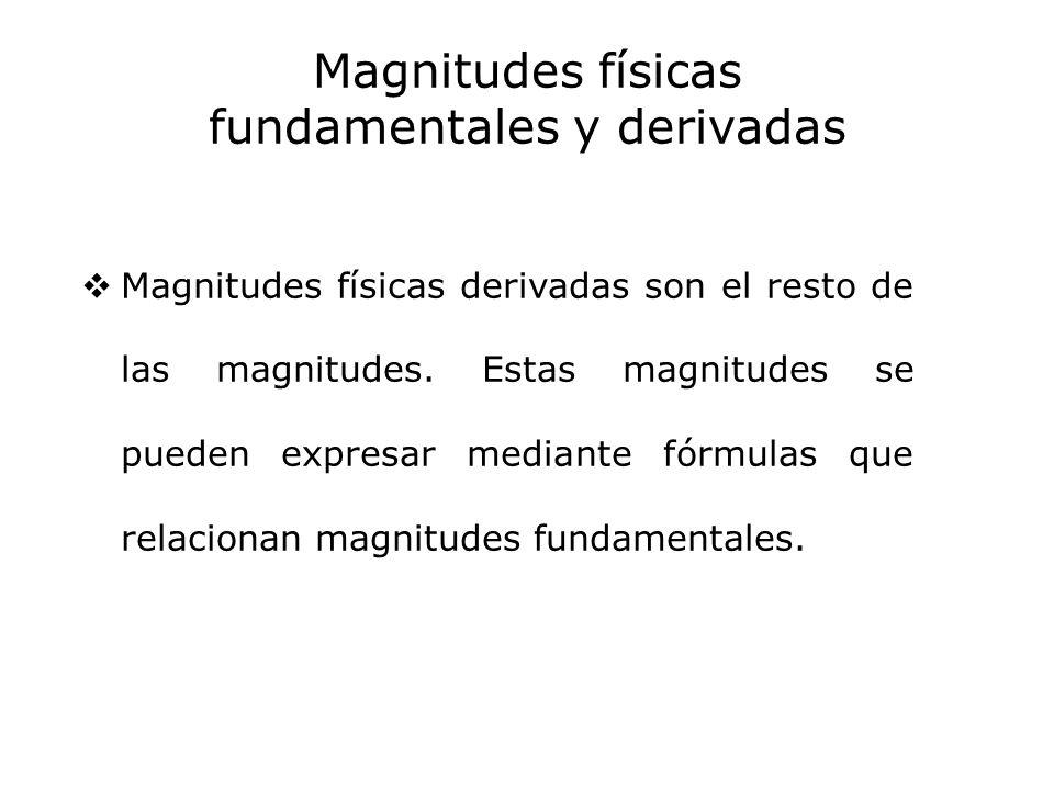 Magnitudes físicas fundamentales y derivadas