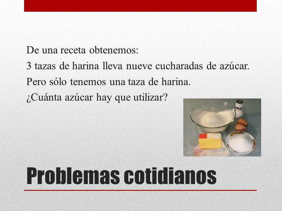 Problemas cotidianos De una receta obtenemos:
