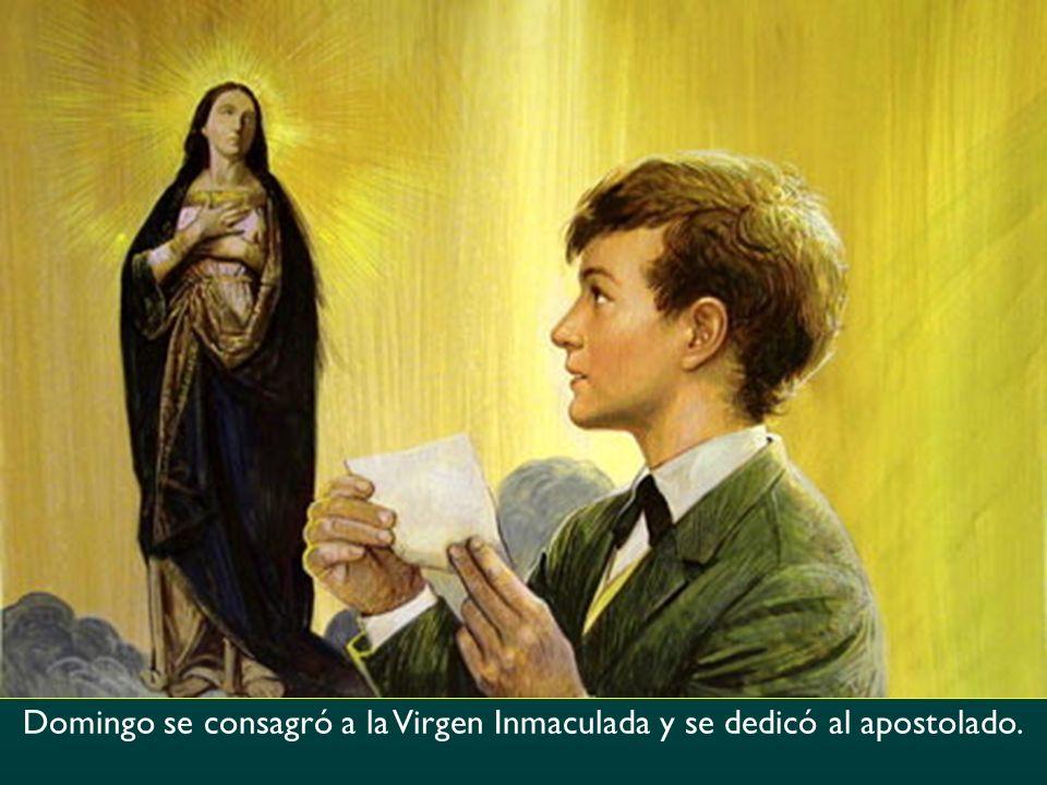 Domingo se consagró a la Virgen Inmaculada y se dedicó al apostolado.