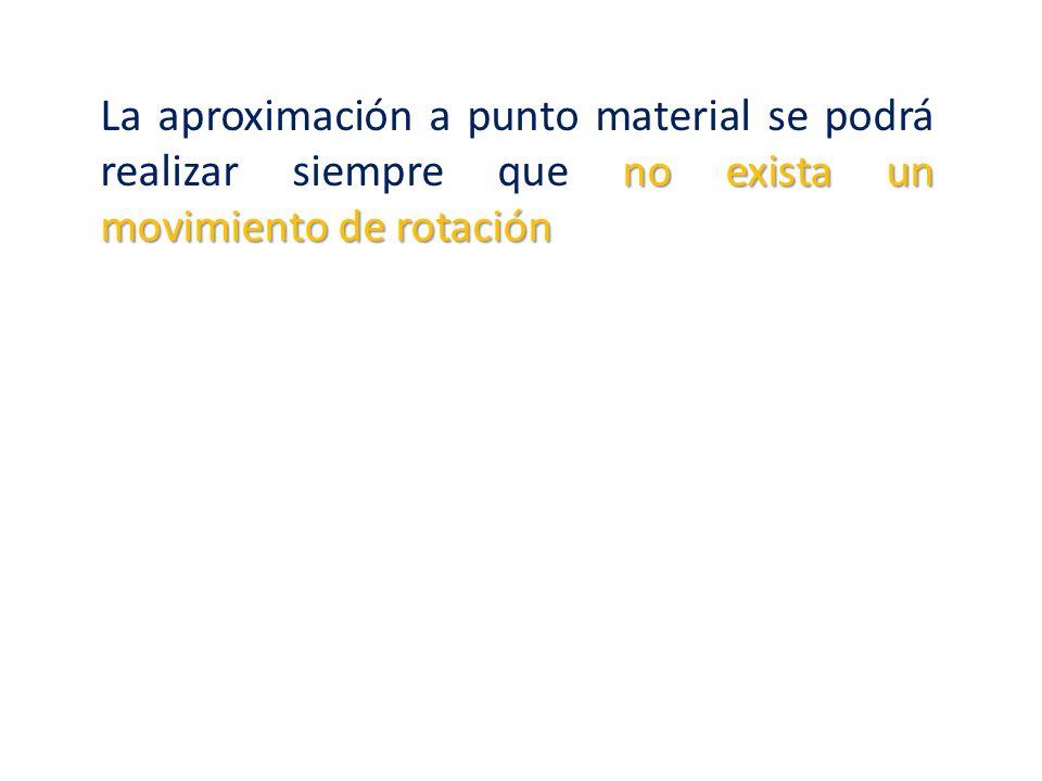 La aproximación a punto material se podrá realizar siempre que no exista un movimiento de rotación