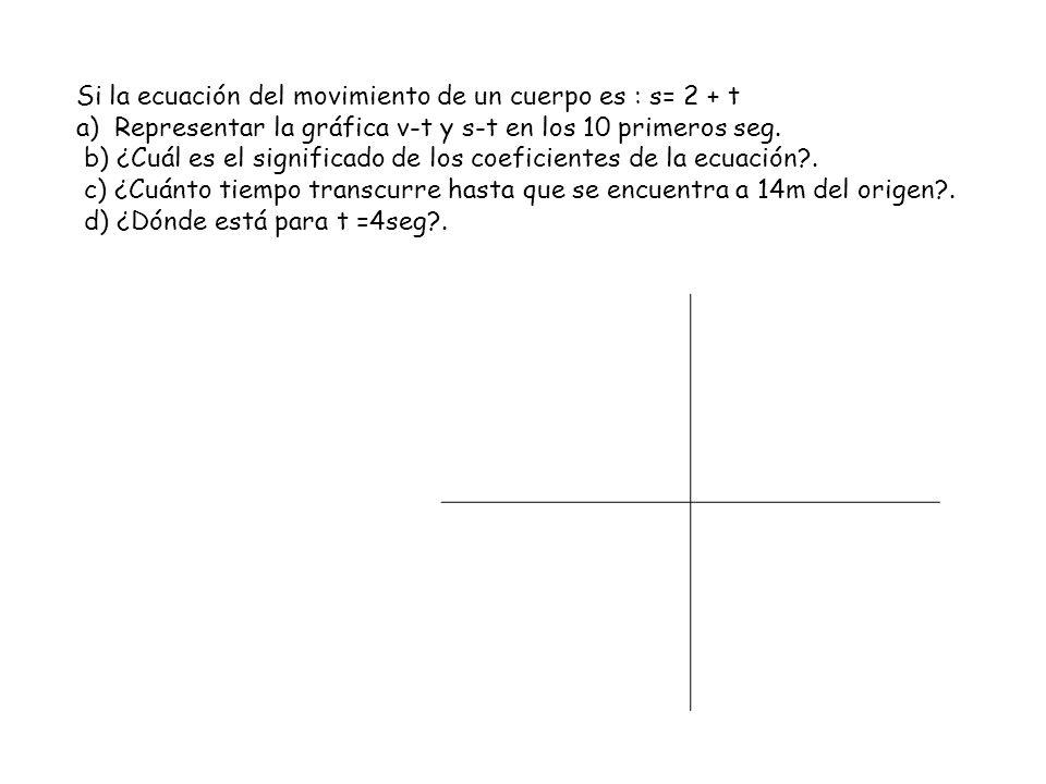 Si la ecuación del movimiento de un cuerpo es : s= 2 + t