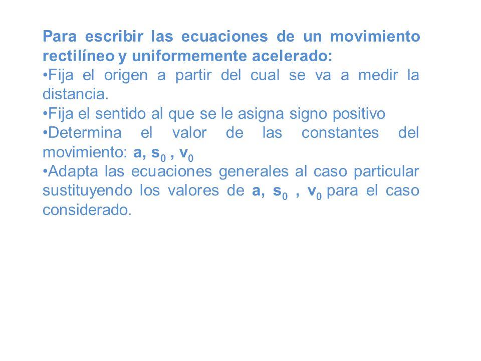 Para escribir las ecuaciones de un movimiento rectilíneo y uniformemente acelerado: