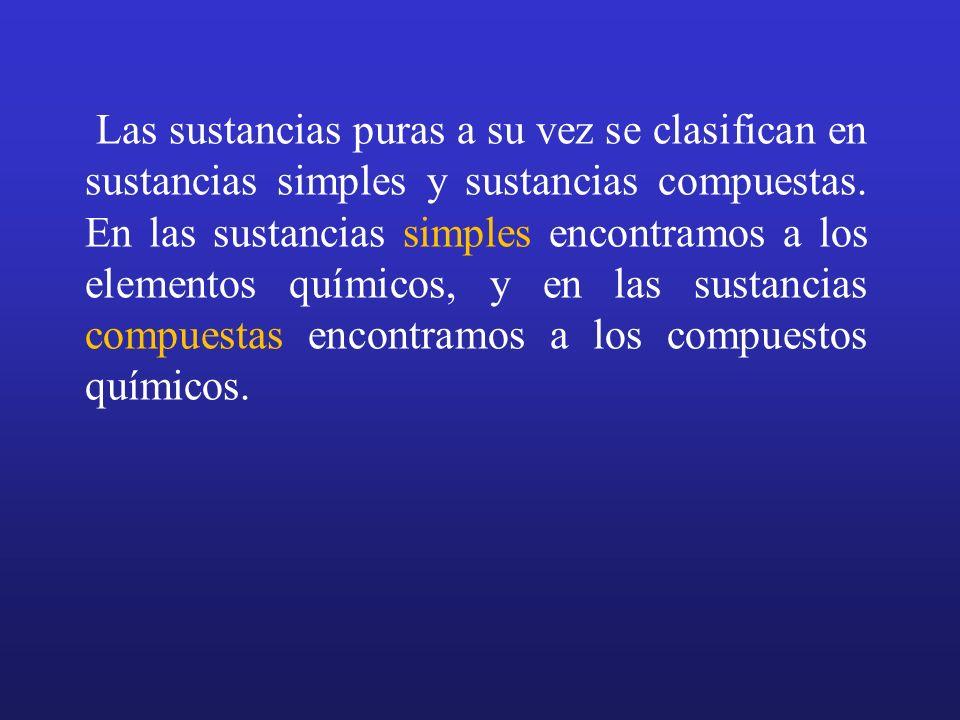 Las sustancias puras a su vez se clasifican en sustancias simples y sustancias compuestas.