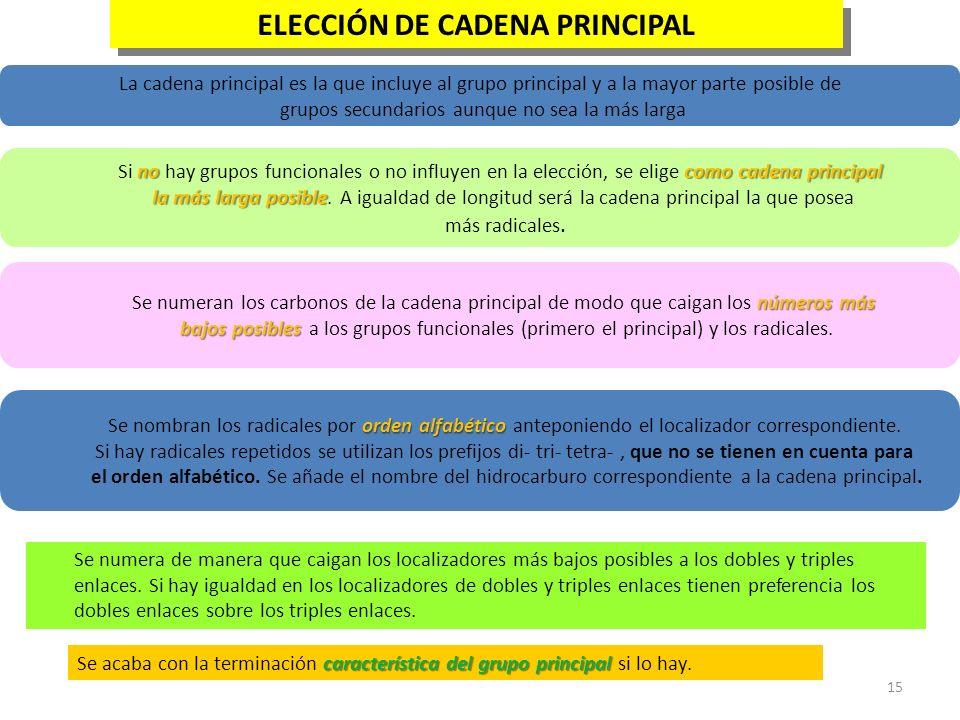 ELECCIÓN DE CADENA PRINCIPAL