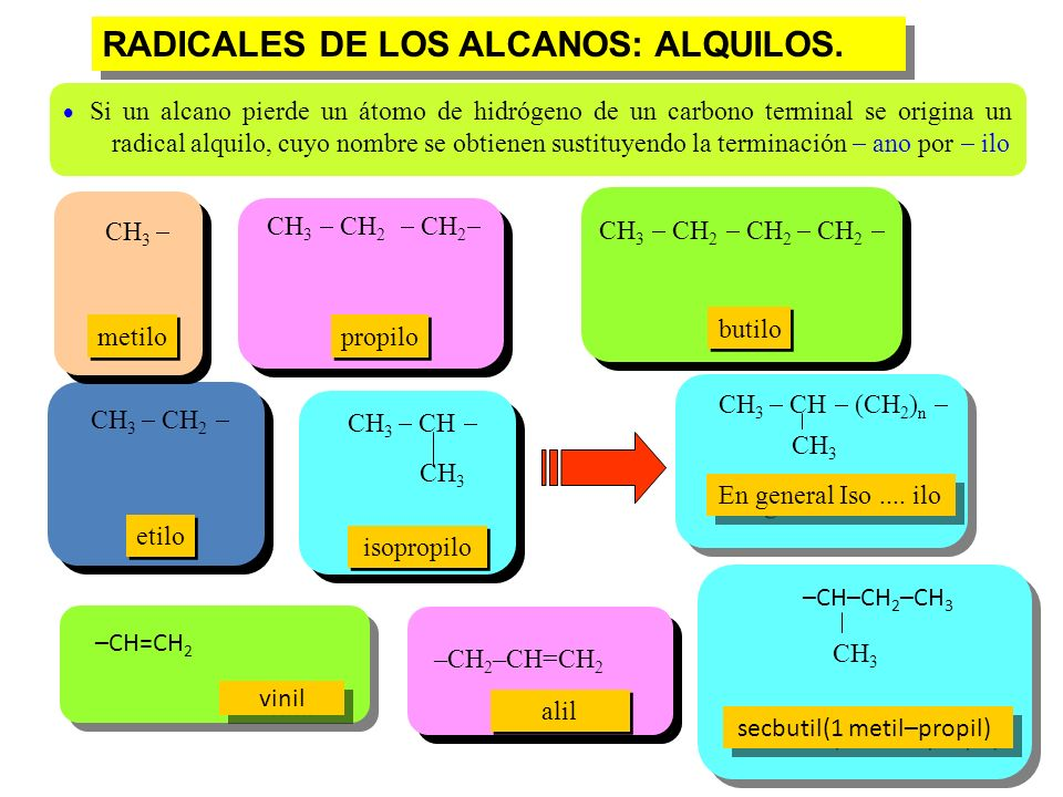 RADICALES DE LOS ALCANOS: ALQUILOS.