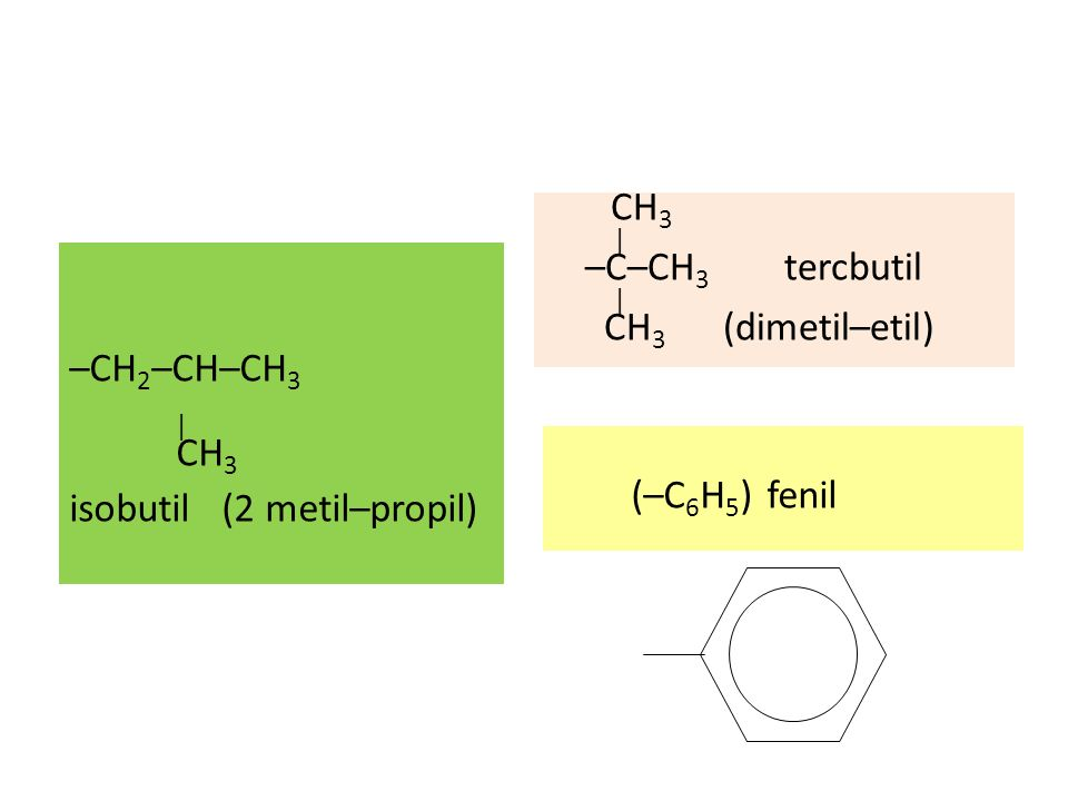 CH3 | –C–CH3 tercbutil | CH3 (dimetil–etil)