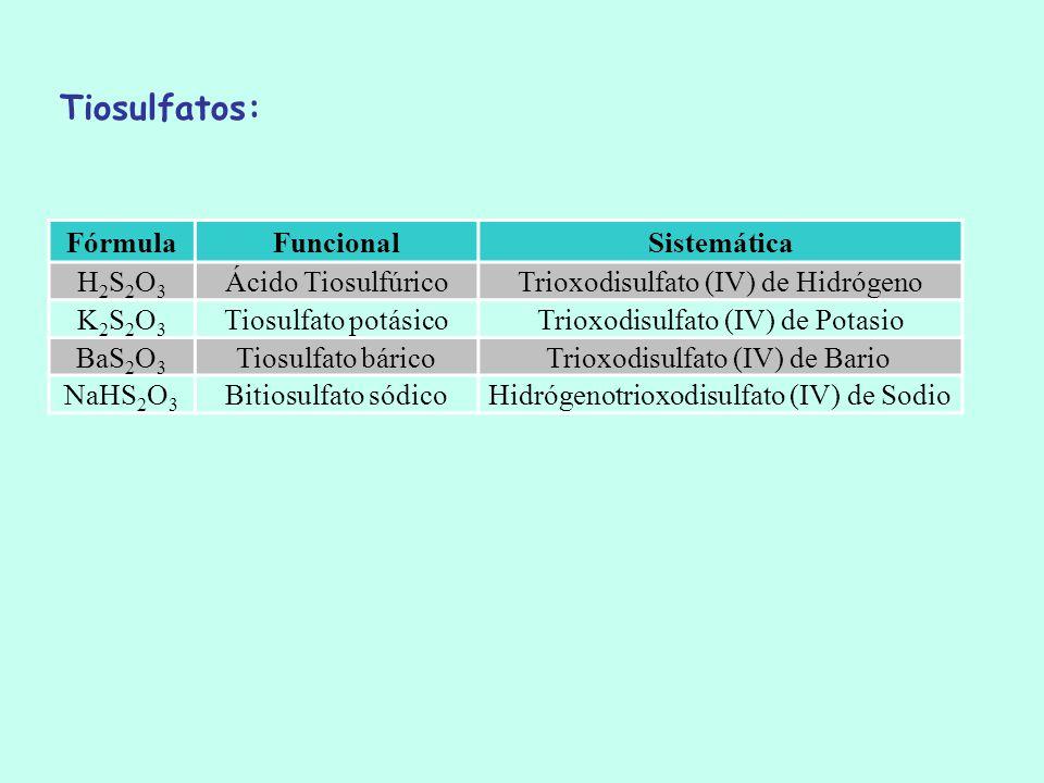 Tiosulfatos: Fórmula Funcional Sistemática H2S2O3 Ácido Tiosulfúrico