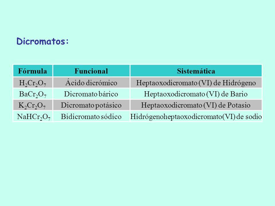 Dicromatos: Fórmula Funcional Sistemática H2Cr2O7 Ácido dicrómico