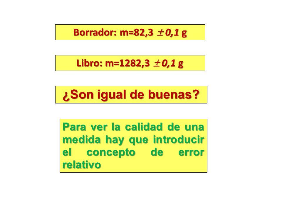 ¿Son igual de buenas Borrador: m=82,3  0,1 g Libro: m=1282,3  0,1 g