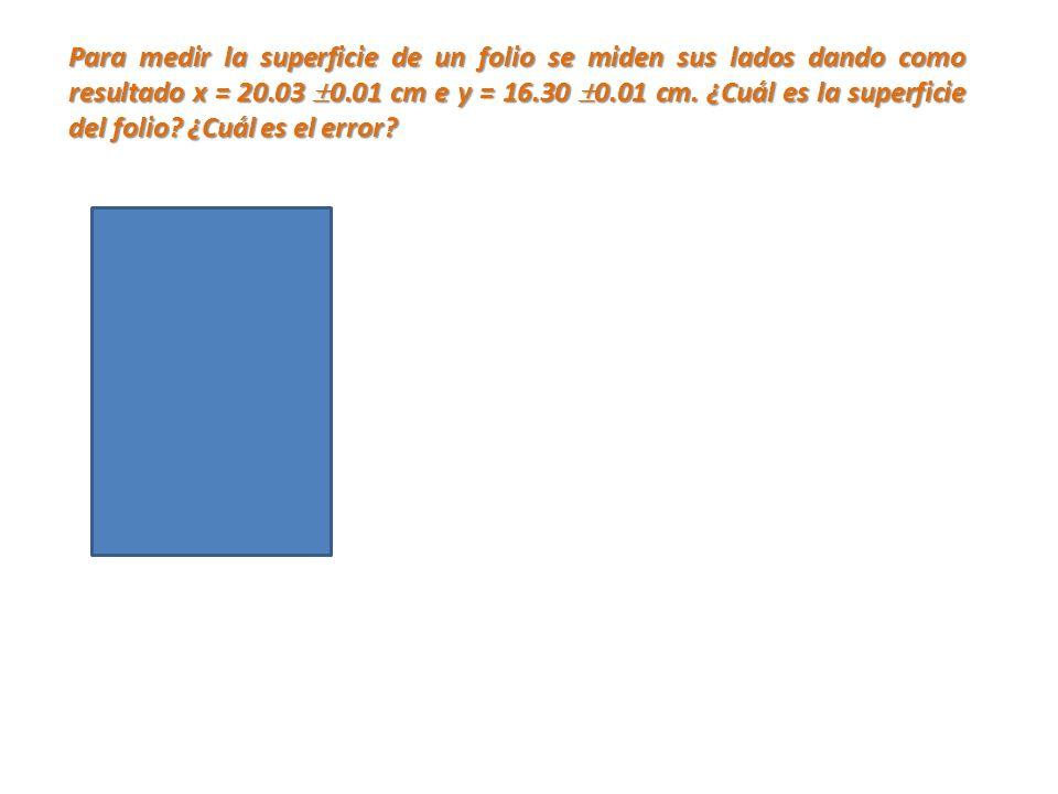 Para medir la superficie de un folio se miden sus lados dando como resultado x = 20.03 0.01 cm e y = 16.30 0.01 cm.
