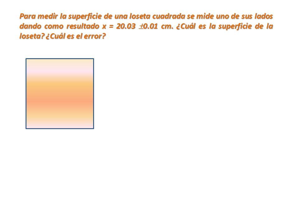 Para medir la superficie de una loseta cuadrada se mide uno de sus lados dando como resultado x = 20.03 0.01 cm.