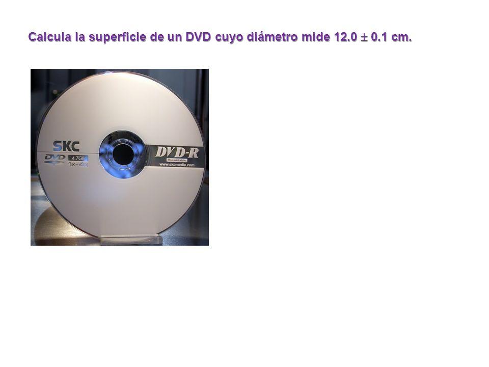Calcula la superficie de un DVD cuyo diámetro mide 12.0  0.1 cm.