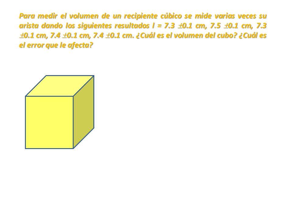 Para medir el volumen de un recipiente cúbico se mide varias veces su arista dando los siguientes resultados l = 7.3 0.1 cm, 7.5 0.1 cm, 7.3 0.1 cm, 7.4 0.1 cm, 7.4 0.1 cm.