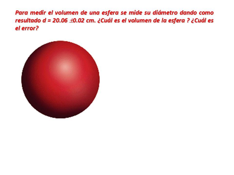 Para medir el volumen de una esfera se mide su diámetro dando como resultado d = 20.06 0.02 cm.