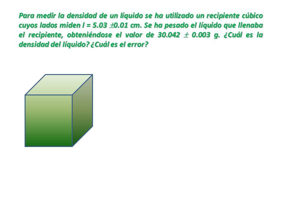 Para medir la densidad de un líquido se ha utilizado un recipiente cúbico cuyos lados miden l = 5.03 0.01 cm.