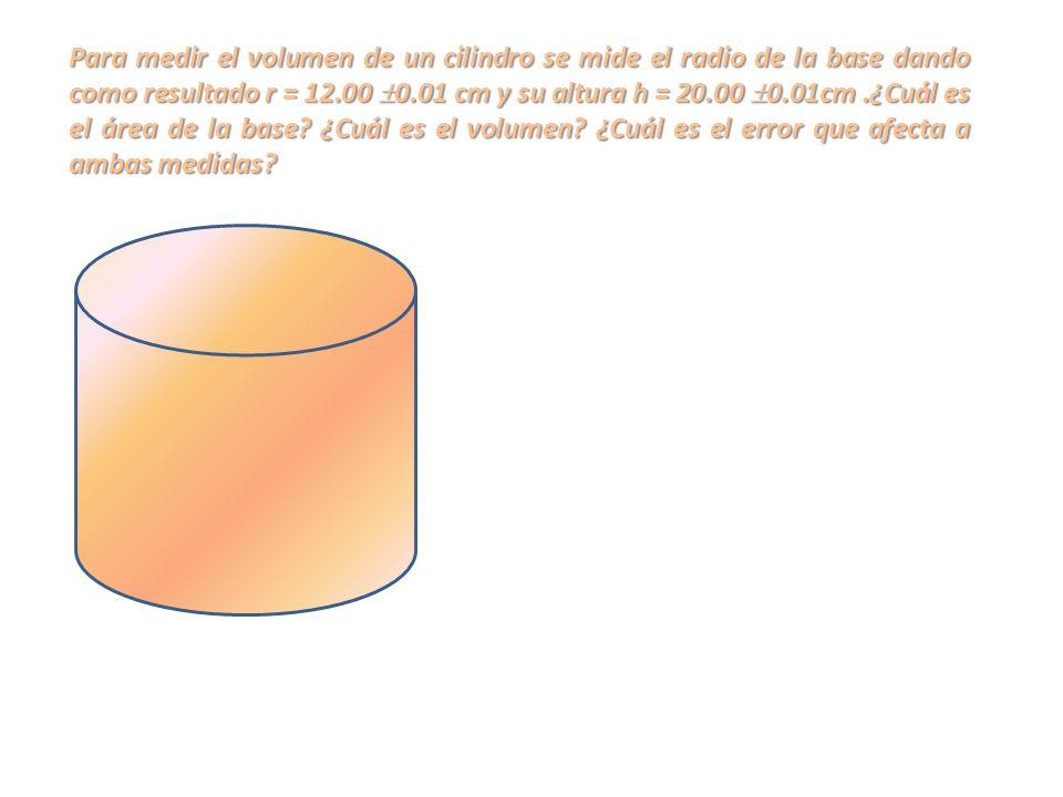 Para medir el volumen de un cilindro se mide el radio de la base dando como resultado r = 12.00 0.01 cm y su altura h = 20.00 0.01cm .¿Cuál es el área de la base.