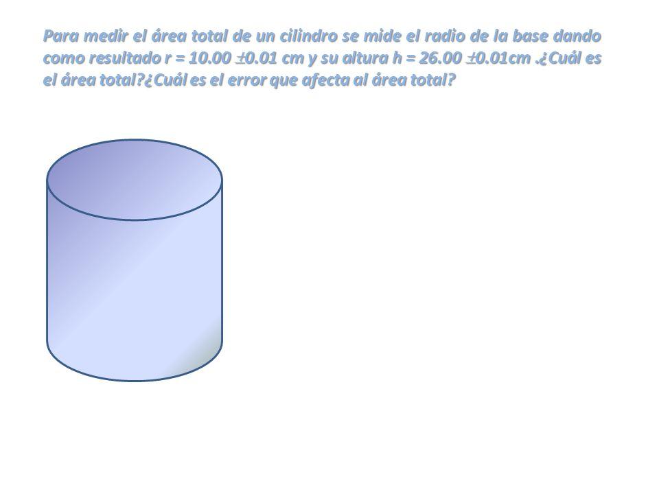 Para medir el área total de un cilindro se mide el radio de la base dando como resultado r = 10.00 0.01 cm y su altura h = 26.00 0.01cm .¿Cuál es el área total ¿Cuál es el error que afecta al área total