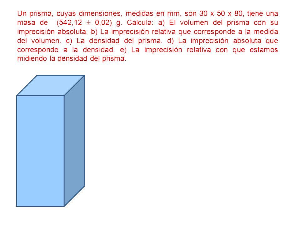 Un prisma, cuyas dimensiones, medidas en mm, son 30 x 50 x 80, tiene una masa de (542,12 ± 0,02) g.