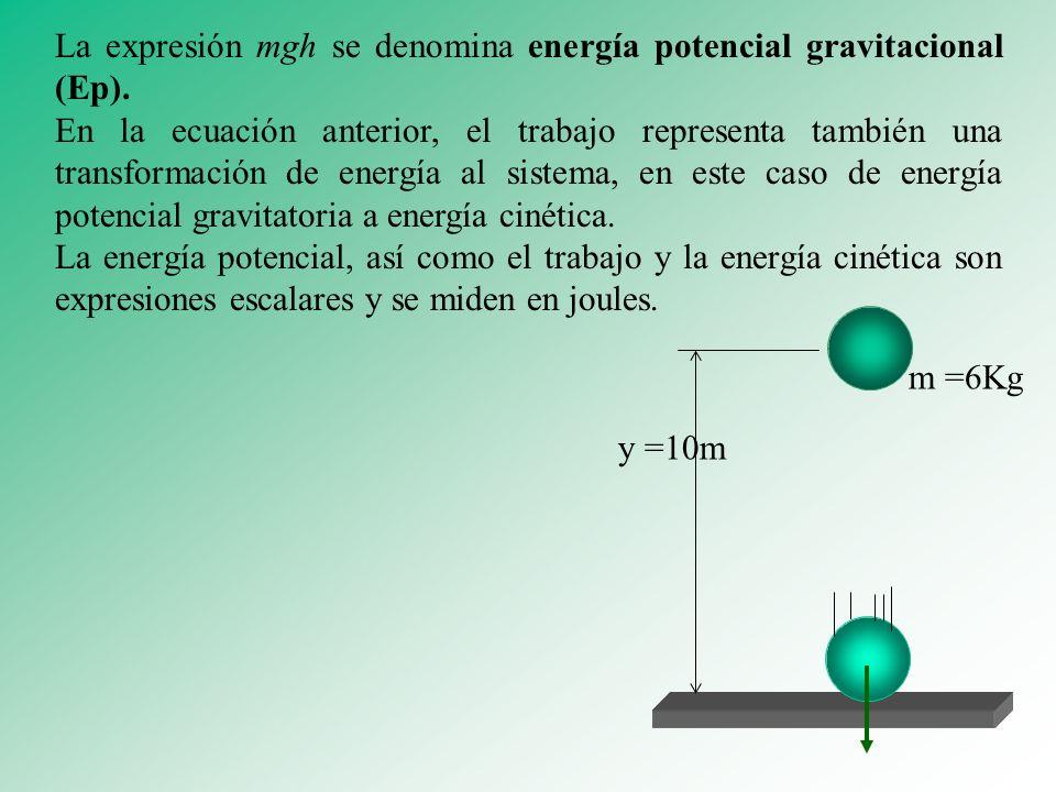 La expresión mgh se denomina energía potencial gravitacional (Ep).