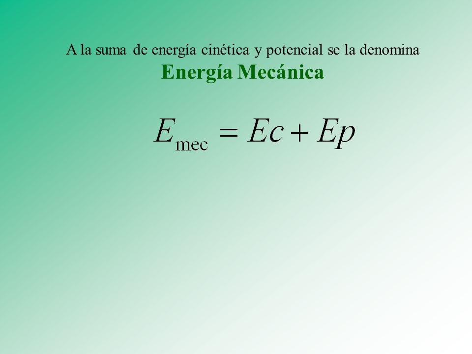 A la suma de energía cinética y potencial se la denomina Energía Mecánica