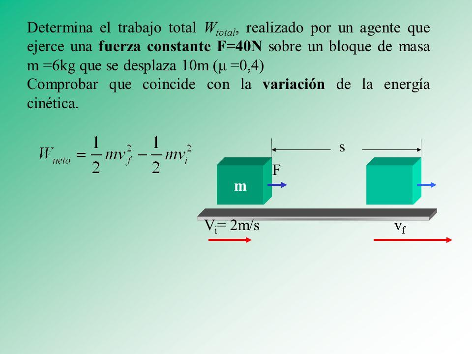 Determina el trabajo total Wtotal, realizado por un agente que ejerce una fuerza constante F=40N sobre un bloque de masa m =6kg que se desplaza 10m (μ =0,4)